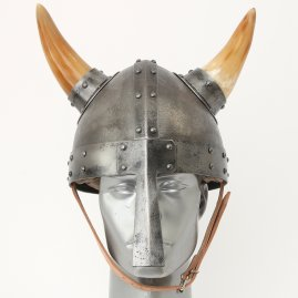 Viking helm with nasal and horns