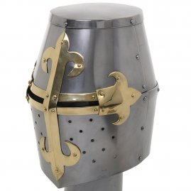 Great helm with brass lily-cross