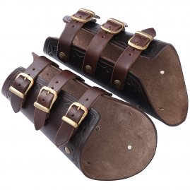 Leather bracers with buckles and rivets (pair)