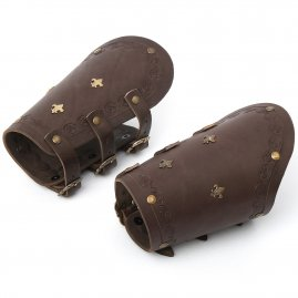 Leather arm bracers with fleur-de-lis fittings