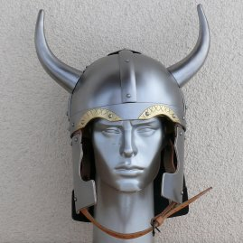 Fantasy Viking helmet with brass eyebrows