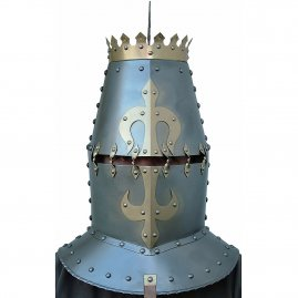 Great helm with a crown, gorget and fleur-de-lis