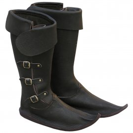 Gothic leather high boots with side buckles