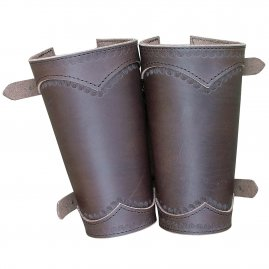 Coloured leather bracers with buckles (pair)