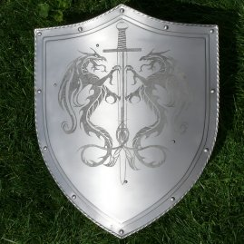 Shield with engraving, dragon motive
