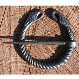 Hand forged iron cloak pin with leaves