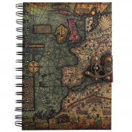 Notebook with antique nautical map on the cover