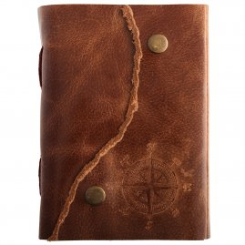 Journal with compass rose on leather cover