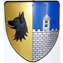 Shield with a coat of arms: wolf and castle