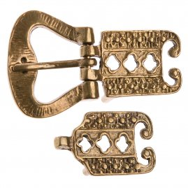 Viking or Celtic brass belt buckle with chape and strap end