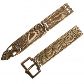 Romano-Celtic brass belt buckle with chape and strap end, 1370-1420